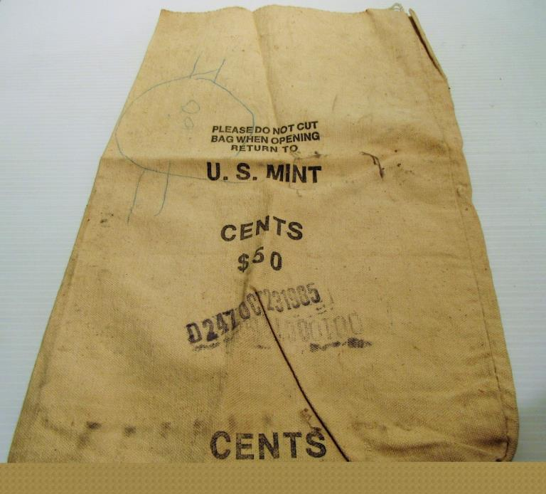 U.S. Mint Canvas Bank Bag - Held $50.00 in Pennies McDowell Industries Memphis