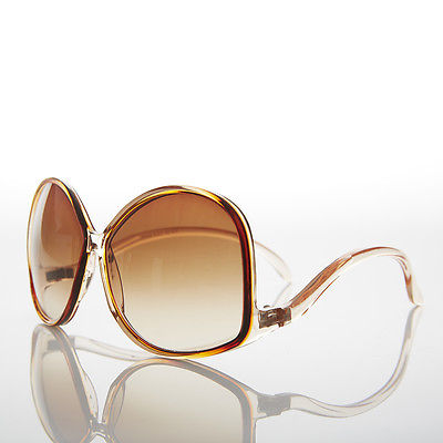 Brown Oversized Women's Low Temple 70s Vintage Sunglasses - Vazzy