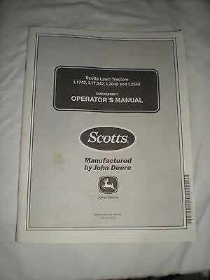 Scotts Operators Manual Lawn Tractor L1741 L17.542 L2048 L2548 John Deere 100