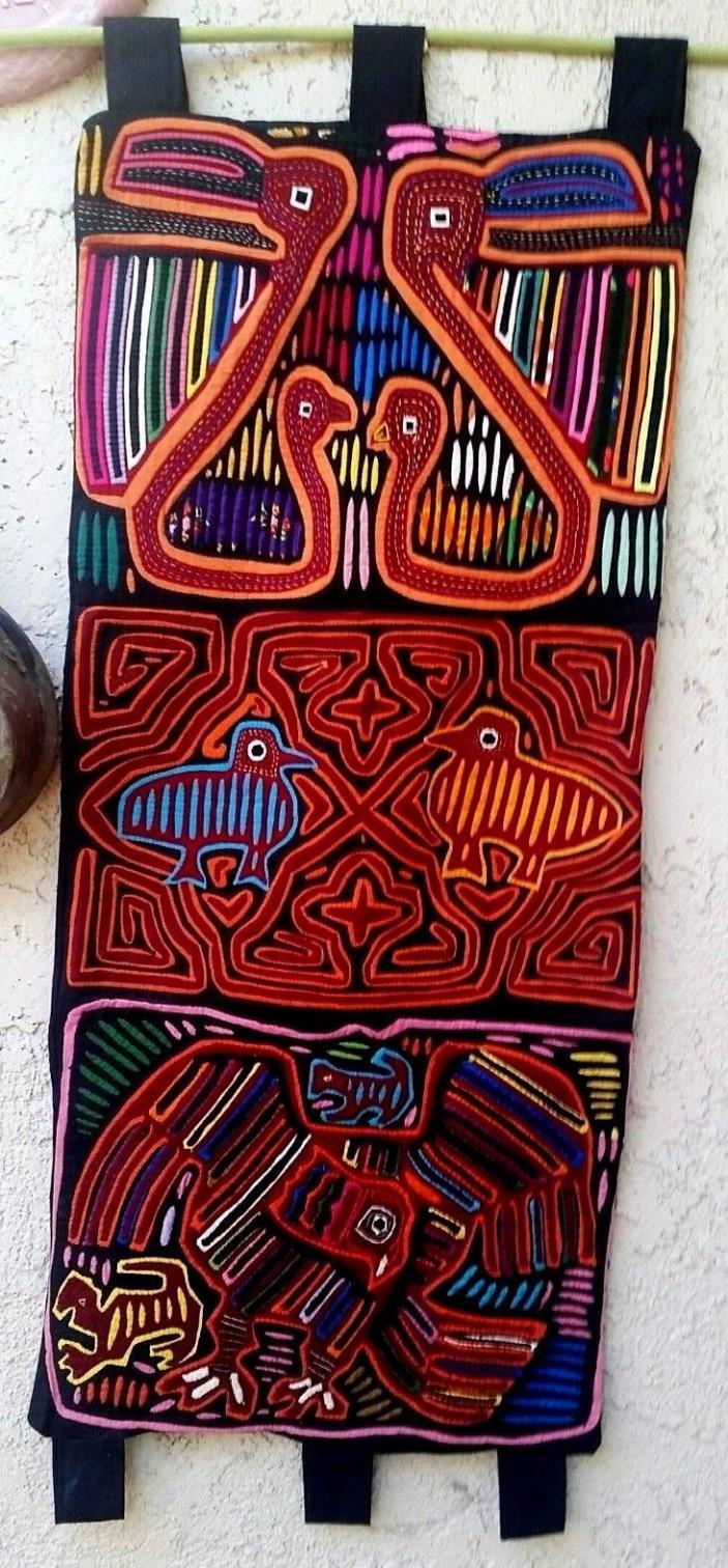 "Kuna Indians Mola  layered applique needle work 3 panels birds mix 35""X16"