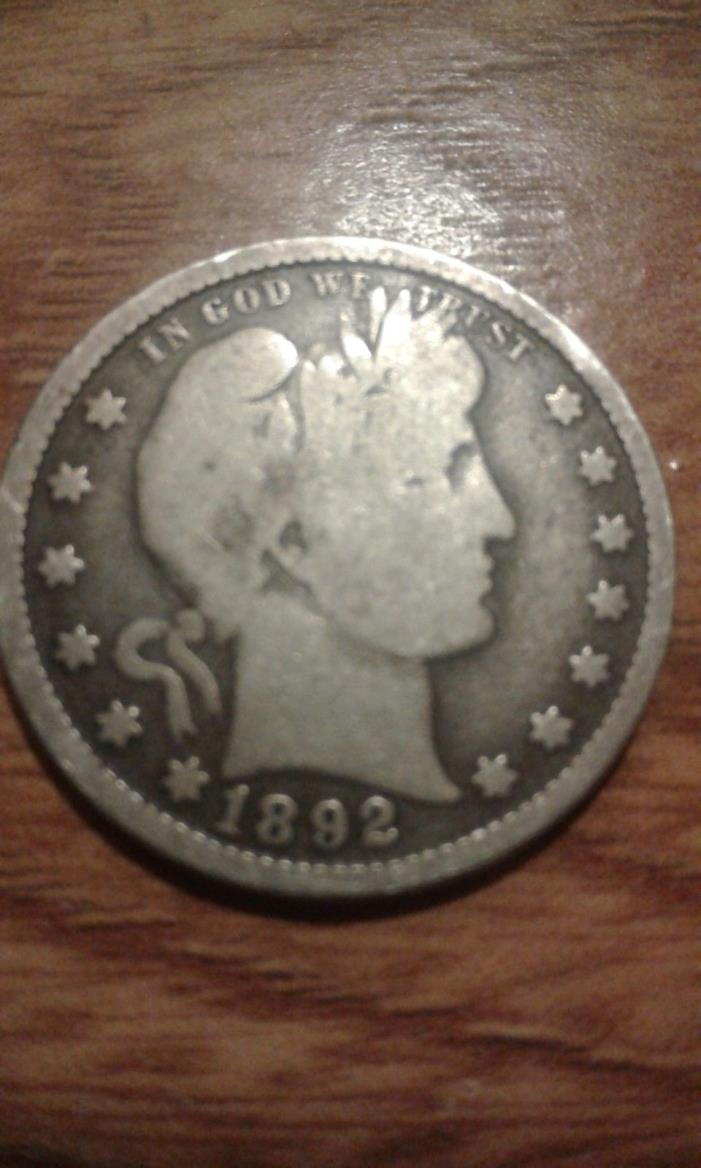 1892 Barber Quarter Solid Good +