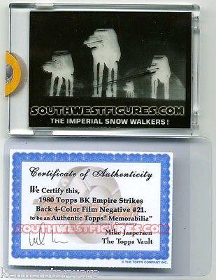 Topps 1980 Star Wars Empire Strikes Back 4-Color Film Neg. Proof #21 +Topps COA