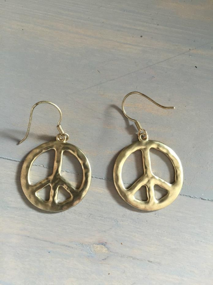 Hammered Brass peace sign dangle pierced earring