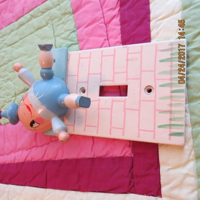 Vtg~IRMI~Nursery~Kid~Baby~ Humpty Dumpty  ~Wooden~Wall~Single~Light~Switch plate