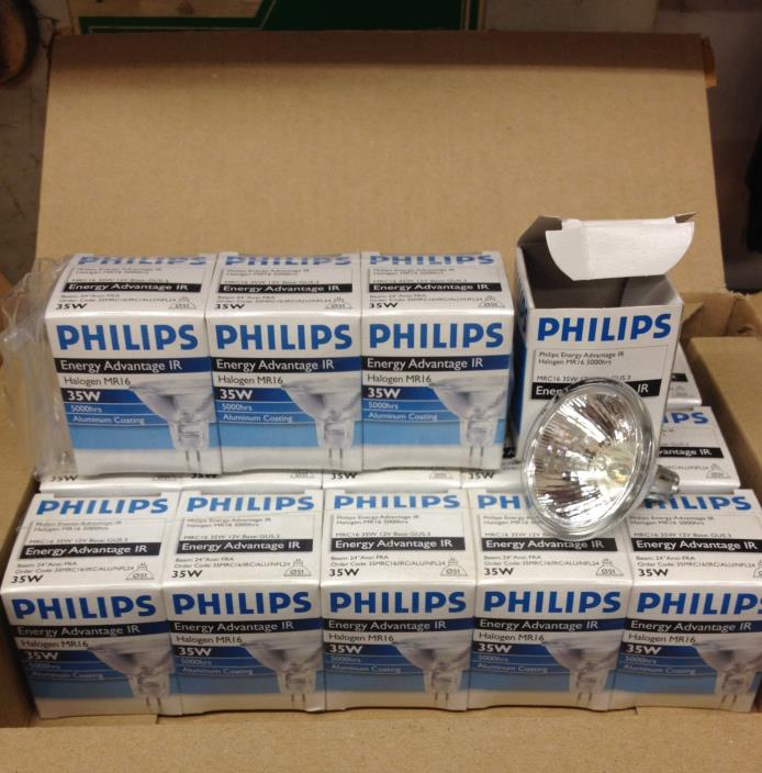 LOT 59 PCS PHILIPS MRC16 ENERGY ADVANTAGE HALOGEN BULBS 35W 12V GU5.3