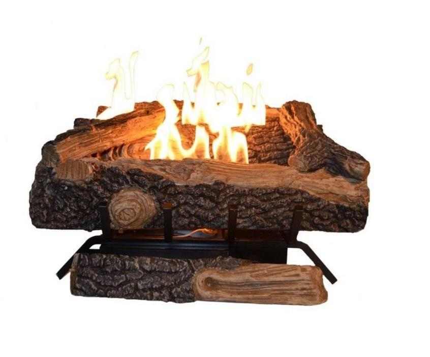*NEW* Vent Free Propane Gas Fireplace Oakwood Fire Logs Set Thermostat Emberglow