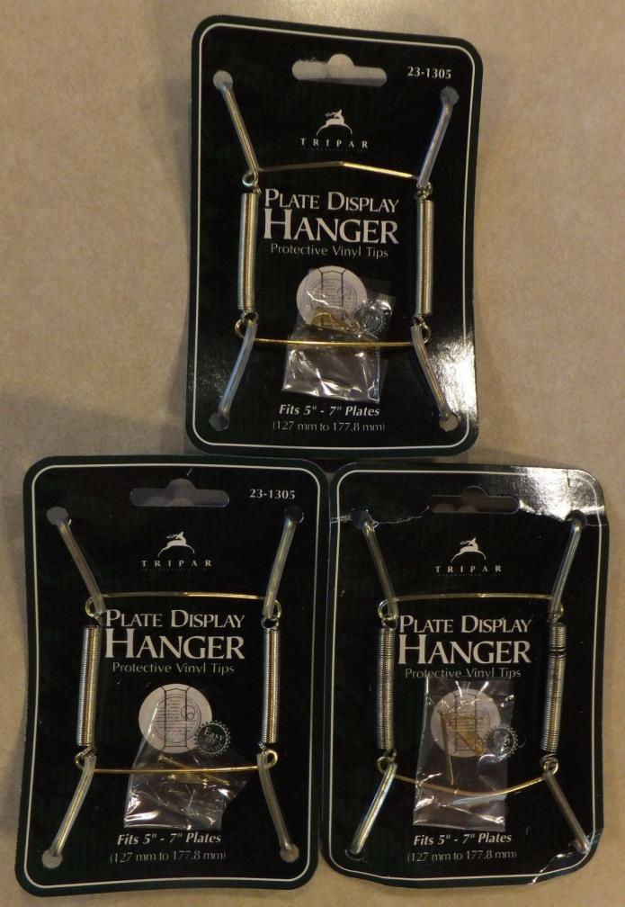 3 PLATE DISPLAY HANGERS TRIPAR 23-1305 BRASS PROTECTIVE VINYL TIPS 5