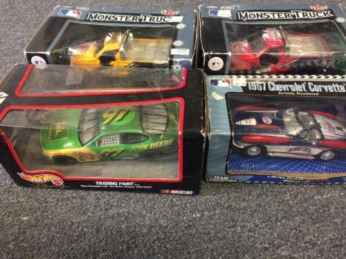 Lot Of 4 Diecast Cars MLB Monster Trucks And Corvette John Deere NASCAR