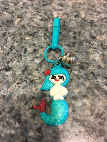 Vintage Plastic Clip On Bell Charm 1980's Blue Mermaid