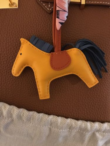 authentic hermes rodeo bag charm pm color aw jaune dor/bleu