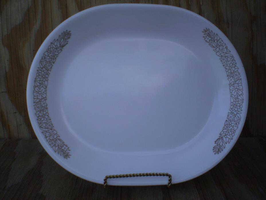 Corelle Dishes Woodland Brown White Large Serving Platter 12 Inch