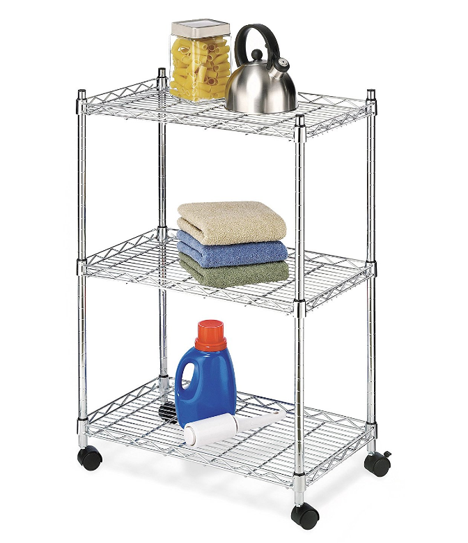 Wire Rolling Cart Shelving Unit Caster Wheels 3 Tier Utility Commercial Home NEW
