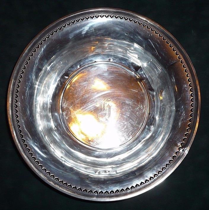 Antique Alvin 9 Inch Pierced Edge Sterling Silver Bowl D97-27 Monogram H