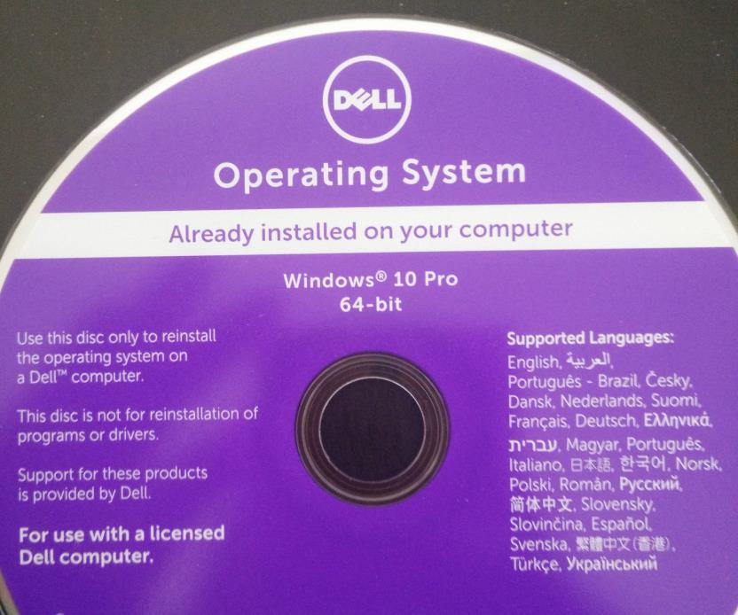 Dell Windows 10 Pro SP1 64 Bit OS Restore Recovery Disc with RAM