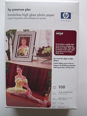 HP Premium Plus Photo Paper High Gloss 4 x 6 Inches Borderless 100 Sheets Q6565A