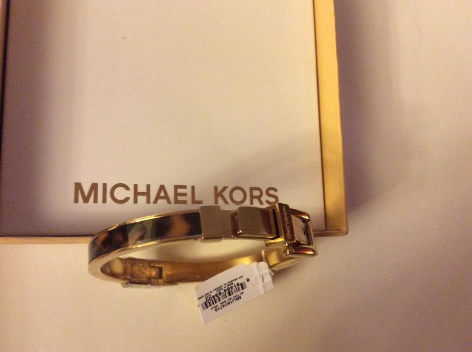 Michael Kors Tortoise Shell Gold Tone Bangle Bracelet with Buckle NWT and Box