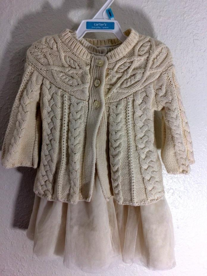 Baby Gap Knit Dress with Sweater 6-12 month-Ivory