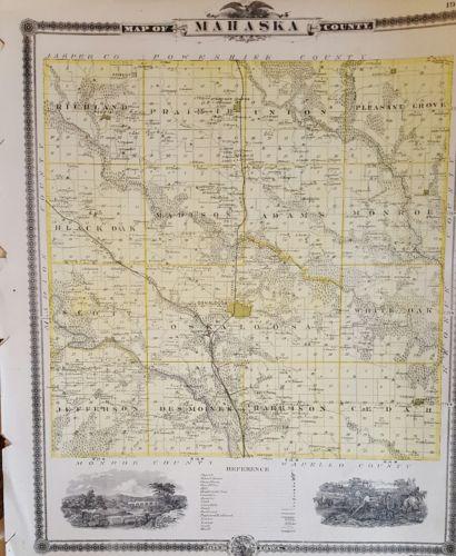 Mahaska County Iowa Map Plan Oskaloosa 1875 Antique Atlas
