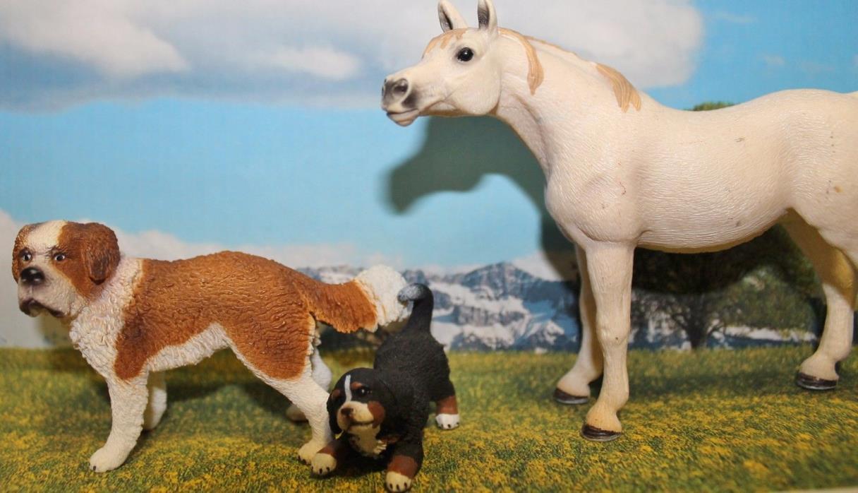 Schleich Dog, Puppy, and Horse Set White Horse - Cute!