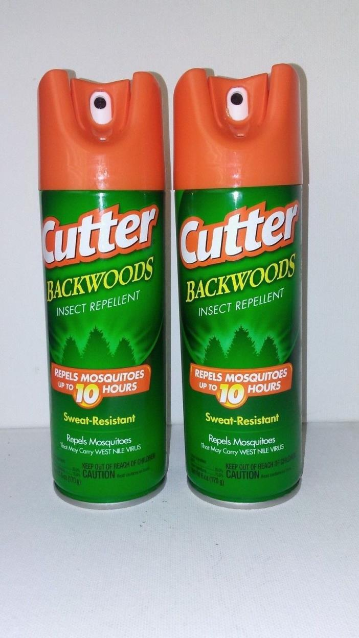 Set of TWO Cutter Backwoods Aerosol Insect Repellents, 6 oz DEET NEW CHEAP!!
