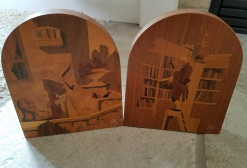 Buchschmid and Gretaux marquetry wood inlay bookends.