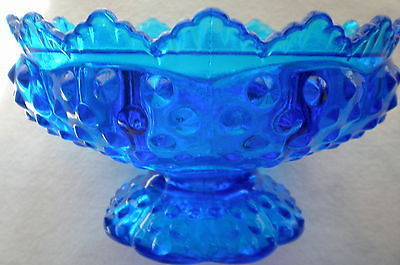 GLASS SAPPHIRE BLUE CANDLE HOLDER  BEAUTIFUL