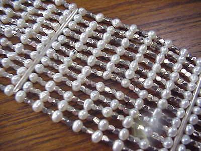 Estate Pearl Sterling Silver Wide Bracelet 84 Grams multiple Strands Carolee