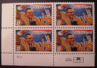 U.S.  PLATE NO. BLOCK OF 4 STAMPS SCOTT #3147 VINCE LOMBARDI