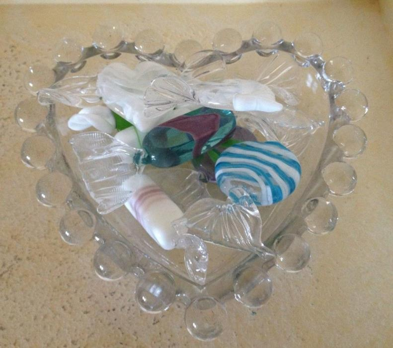 8 Vtg. Murano Glass Candies & Hughes Imperial Candlewick Glass Heart Dish