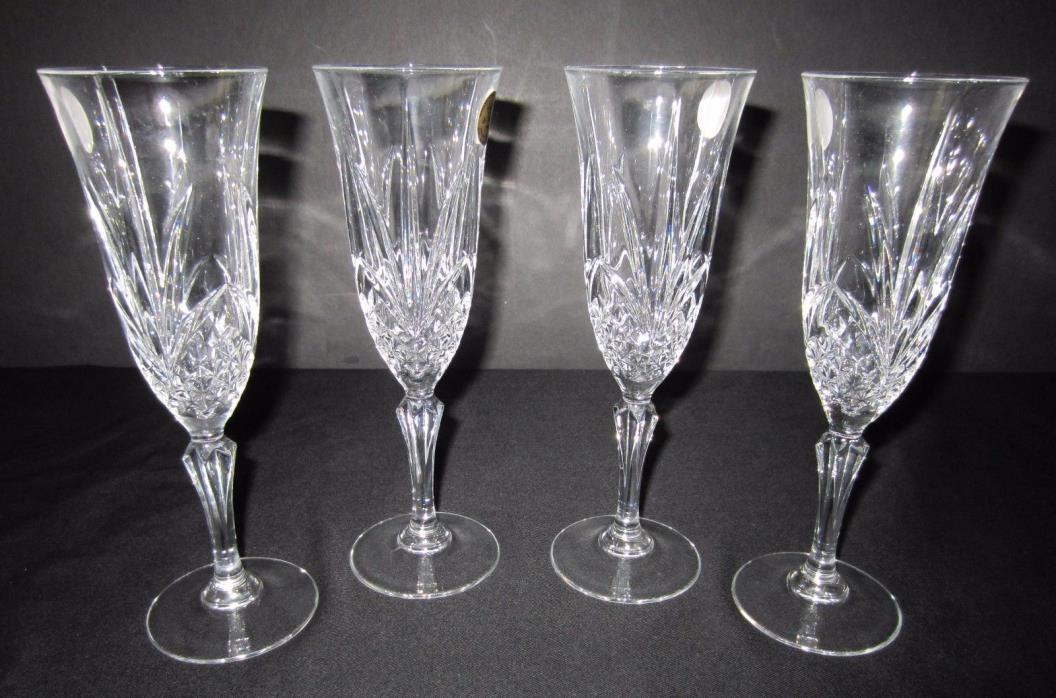 NIB - 4 Salzburg Crystal Flutes Cristal de Flandre - Genuine Lead Crystal