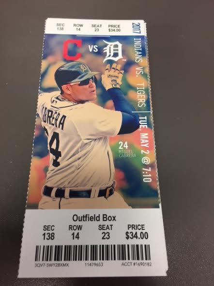 Cabrera HR 450 - Detroit Tigers Indians MINT Season Ticket 5/2/17 2017 MLB Stub