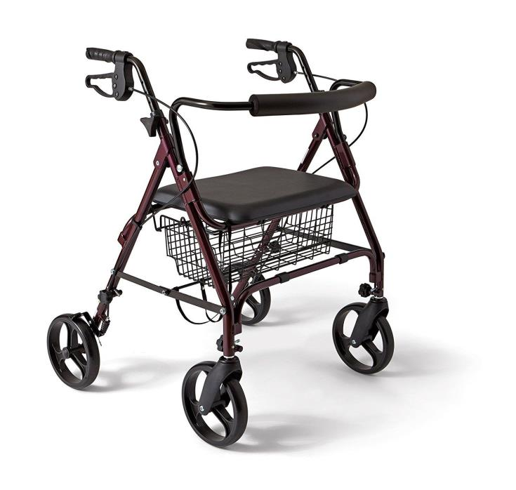 Medline - Standard Bariatric Heavy Duty Rollator/Walker with 8