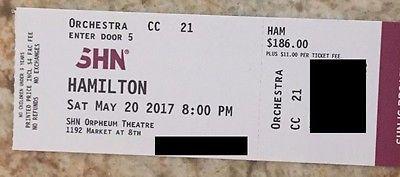 1 Hamilton San Francisco SF Ticket - Sat 05/20/2017 @ 8pm - Orchestra Row CC