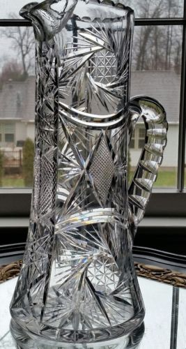 MAGNIFICENT HUGE ANTIQUE AMERICAN BRILLIANT CUT GLASS CRYSTAL ABP LARGE PITCHER