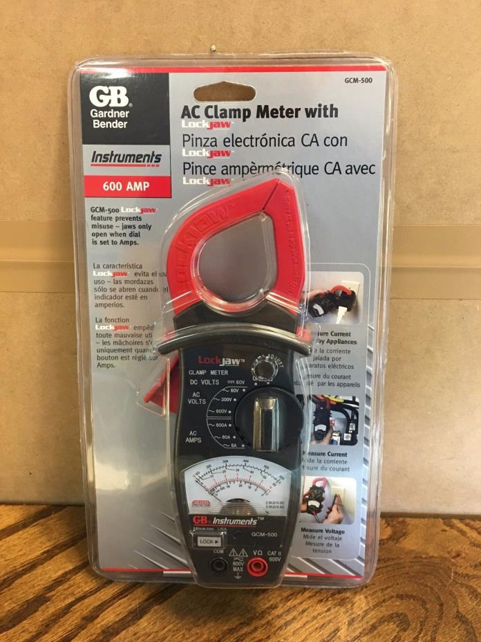 NEW! Gardner Bender GCM-500 600V Analog Clamp On/ Lock Jaw Electrical Multimeter