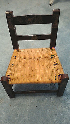 Child's Chair Wooden with Wicker seat