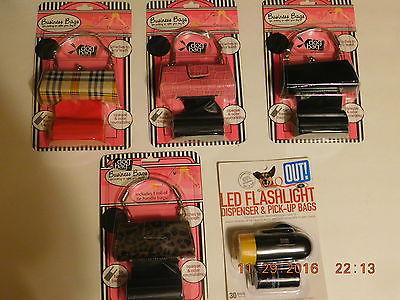 Doggie Leash  Purse All Black,Plaid,Leopard Spots,Pink Crock, LED Flashlight.