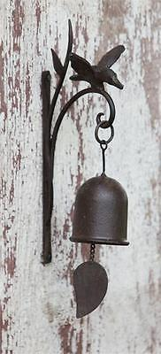 New Garden Bird HUMMINGBIRD BELL Dinner Bell Wall Bracket Rustic Brown Cast Iron