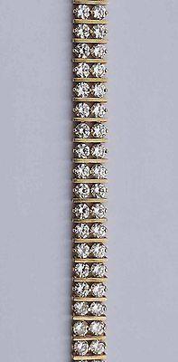 Twin Rows Man-Made Diamond Link Bracelet - 90 Diamonds - 10k Yellow Gold - 7