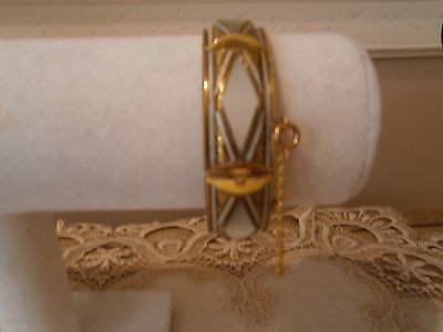 VTG DAMASCENE MOP HINGED BANGLE  BEAUTIFIL