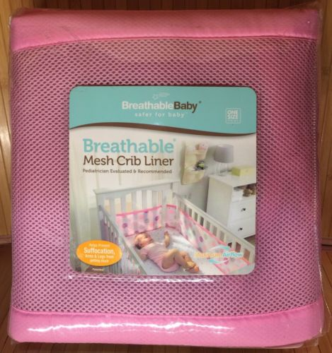 BreathableBaby Classic Breathable Light Pink Mesh Crib Liner-NEW!