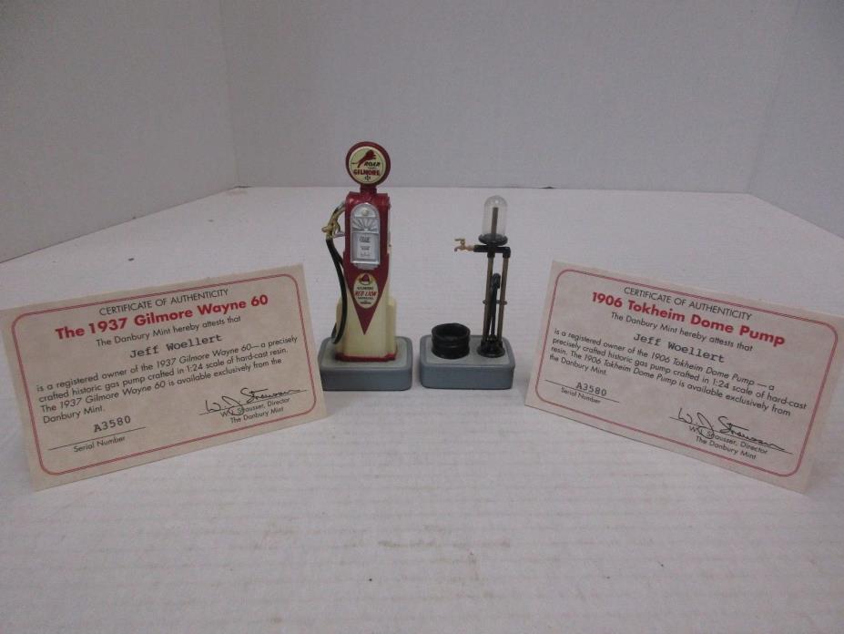Danbury Mint 1937 Gilmore Wayne & 1906 Tokheim Dome Gas Pumps w/ COA - MINT