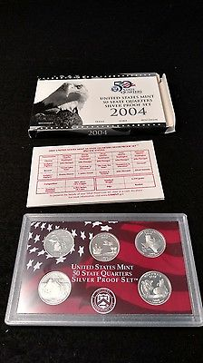 United States Mint 2004 State Quarter SILVER Proof Set - Box and COA