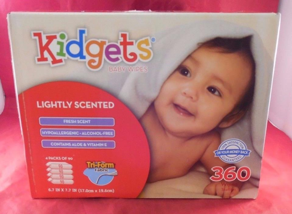 Kidgets Baby Wipes Lightly Scented Fresh Scent 4 Packs Of 90 Total 360 Aloe & E