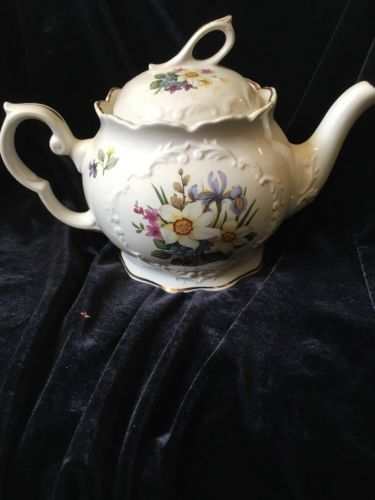Crown Dorset Teapot Staffordshire England Pansy Flowers