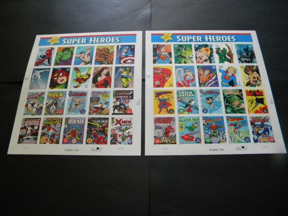 U.S. TWO MINT STAMP SHEETS SUPER HEROES