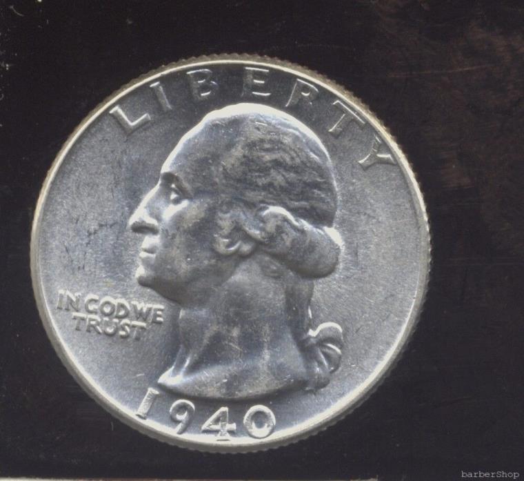 1940 bright white choice to gem BU Washington silver quarter.