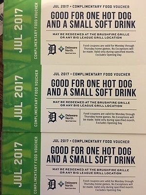 3 July 2017 Comerica Park food vouchers- Good  Weeekday Detroit Tiger Home Game