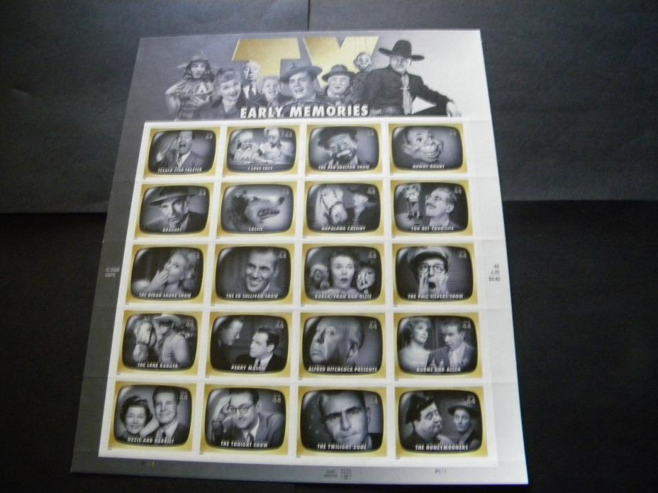 U.S. MINT STAMP SHEET EARLY TELEVISION MEMORIES
