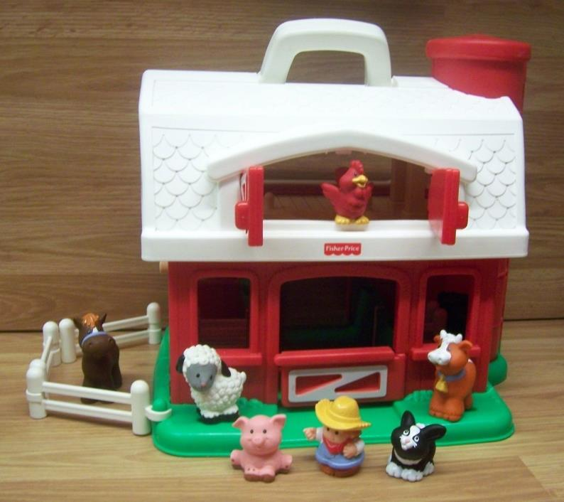Vintage Fisher Price 2590 Little People Red Barn Silo Farm  Great Condition!